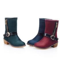 Load image into Gallery viewer, Zipper and Buckle Ankle Boots Women Shoes Fall|Winter