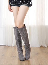 Wedges Knee High Boots Artificial Suede Shoes Woman 3305 3305