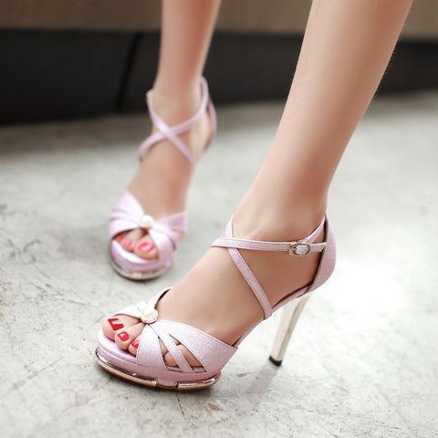 Fashion Ankle Straps Sandals Pumps Platform High Heels Women Dress Shoes 6176