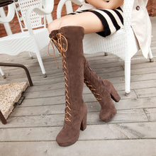 Load image into Gallery viewer, Cross Strap Platform Knee High Boots High Heels 6203