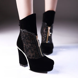 Black Gladiator Boots Platform Lace High Heels Shoes Woman