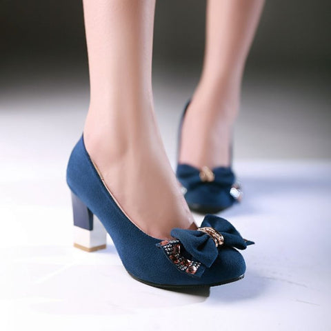 Bowtie Rhinestone Women Pumps Artificial Suede High Heels Shoes Woman
