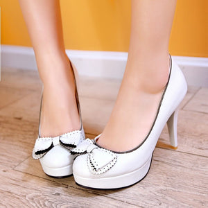 Round Toe Bowtie Women Platform Pumps High Heels Spike Jelly Shoes Woman