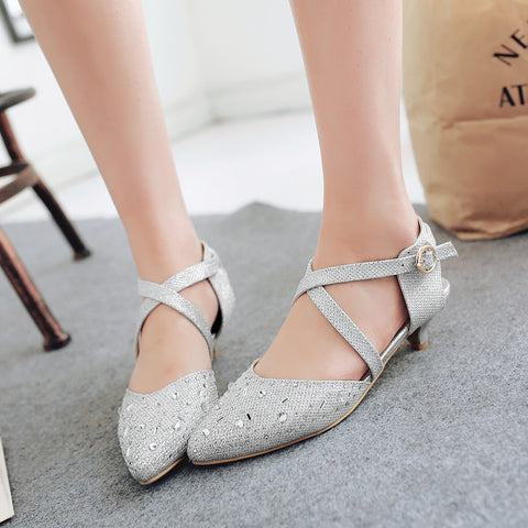 Cross Strap Pointed Toe Sandals Crystal Wedding Shoes 4049