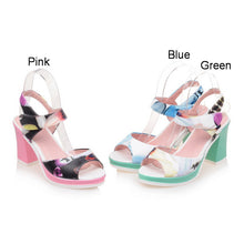 Load image into Gallery viewer, Women Sandals Peep Toes Flower Printed Pumps Platform High-heeled Shoes