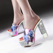 Load image into Gallery viewer, Women Slippers Glitter High Heels Flower Printed Platform Shoes Woman 9940