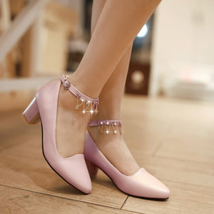 Women Pumps Ankle Straps Low Heeled Pointed Toe Rhinestone Shoes Woman 3531