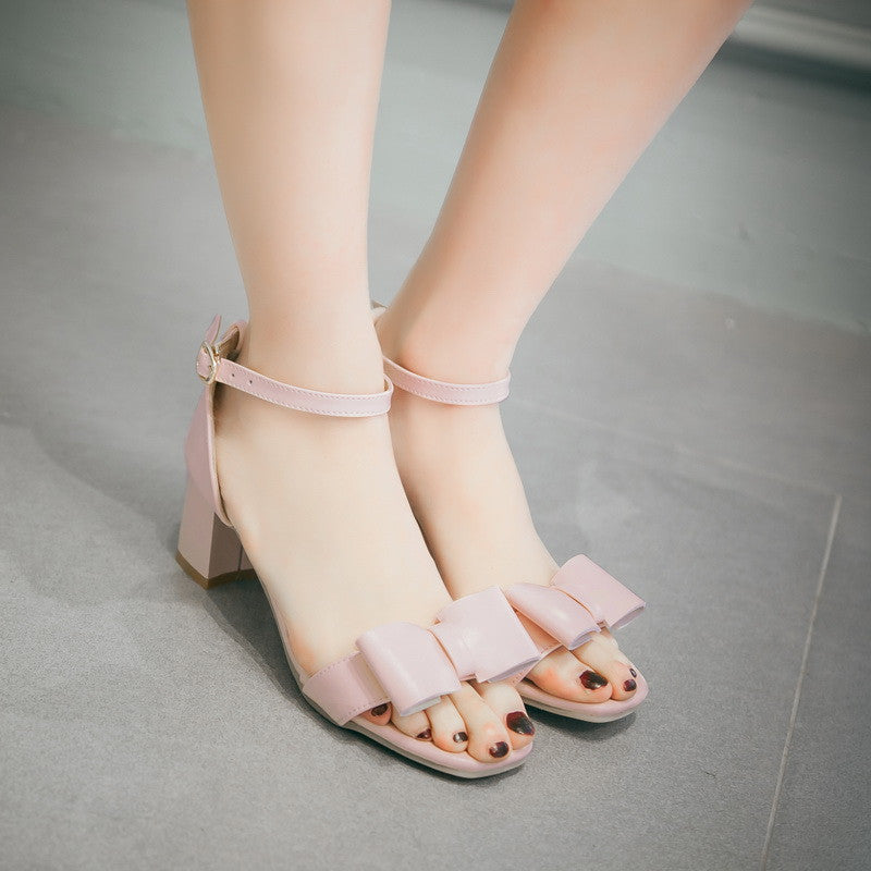 High Heels Sandals with Bow Pumps Thick Heels Women Shoes
