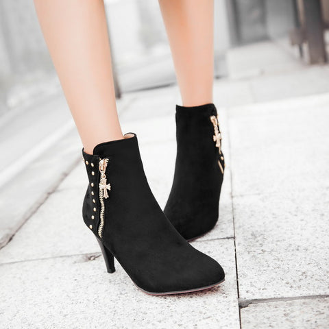 Zipper Studded Women Ankle Boots Cone Heel 8685