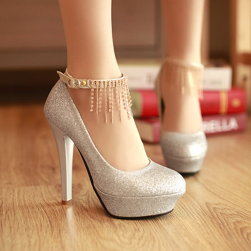 05208dcdf9fe78 Rhinestone Tassel Ankle Straps Women Platform Pumps High Heels Wedding –  Shoeu