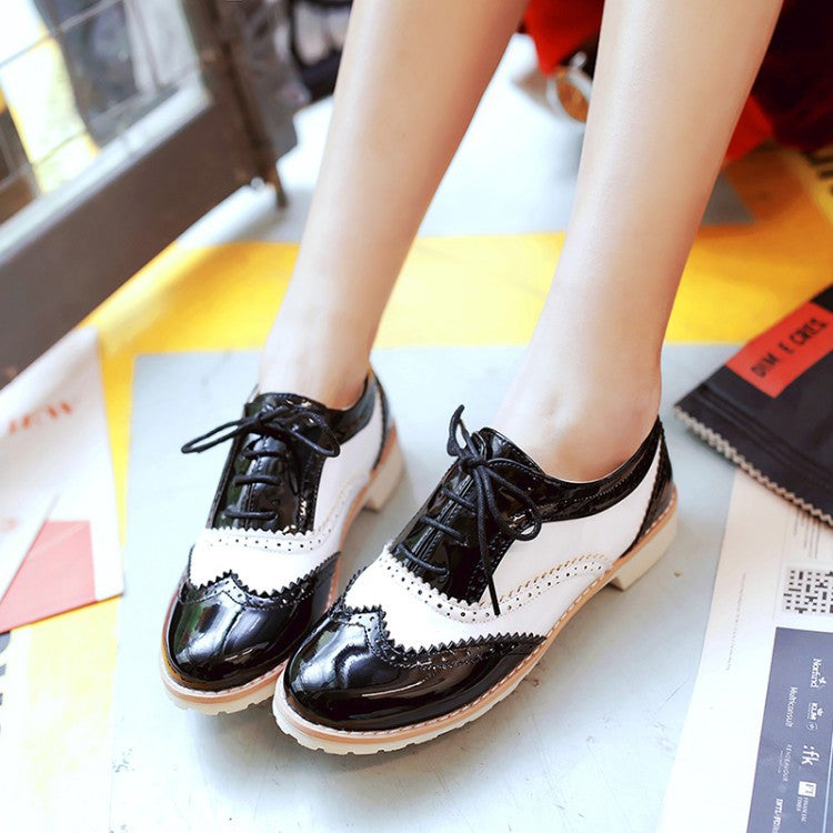 Retro Lace Up Women Flats Oxfords Shoes 5675