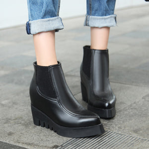 Black Wedges Boots Women Shoes Fall|Winter 11191501