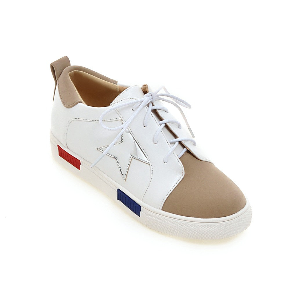 Casual Women Sneakers Round Toe Lace Up Platform Shoes 7572