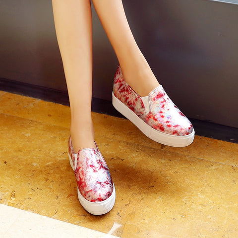 Printed Women Wedges Platform Shoes Plus Size