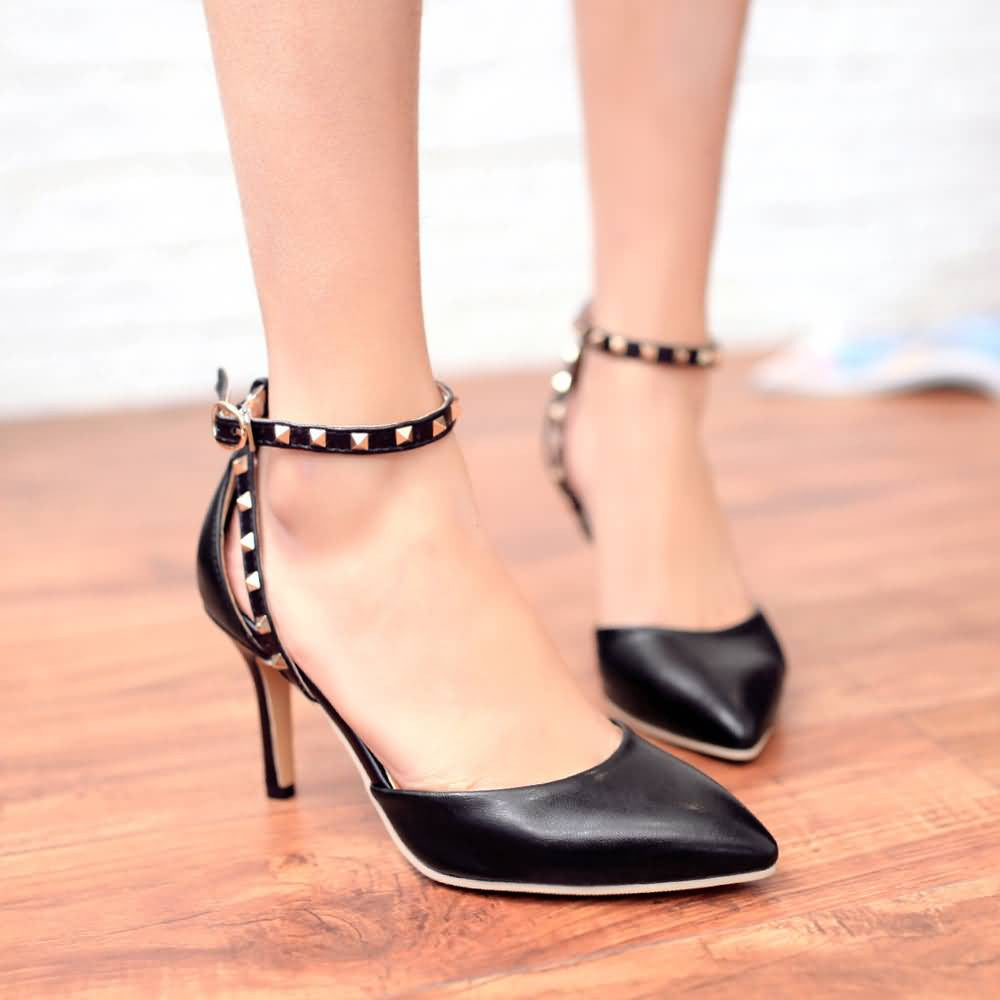 Studded Sandals Women Pumps High Heels Pointed Toe Spike Shoes Woman 3438