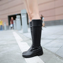 Load image into Gallery viewer, Round Toe Purfle Knee High Boots Low Chunky Heels 8727