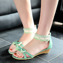 Load image into Gallery viewer, Fashion Bow Wedges Sandals Pumps Platform High Heels Women Shoes 9202