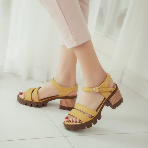 Summer Ankle Straps Sandals Pumps Platform Thick-heeled Shoes Woman