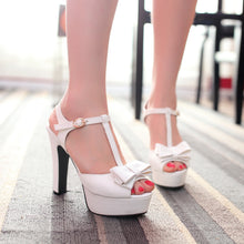 Load image into Gallery viewer, Bowtie Platform Sandals T Straps Women Pumps High Heels Shoes Woman