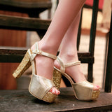 Glitter Platform Sandals Ankle Straps Women Pumps High Heels Shoes Woman
