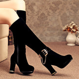 Chians Platform Knee High Boots Black Zipper High Heels Shoes Woman 3284 3284