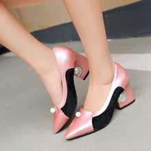 Load image into Gallery viewer, Pointed Toe Horsehair Rhinestone Pearl Heel Chunky Heel Pumps 8785