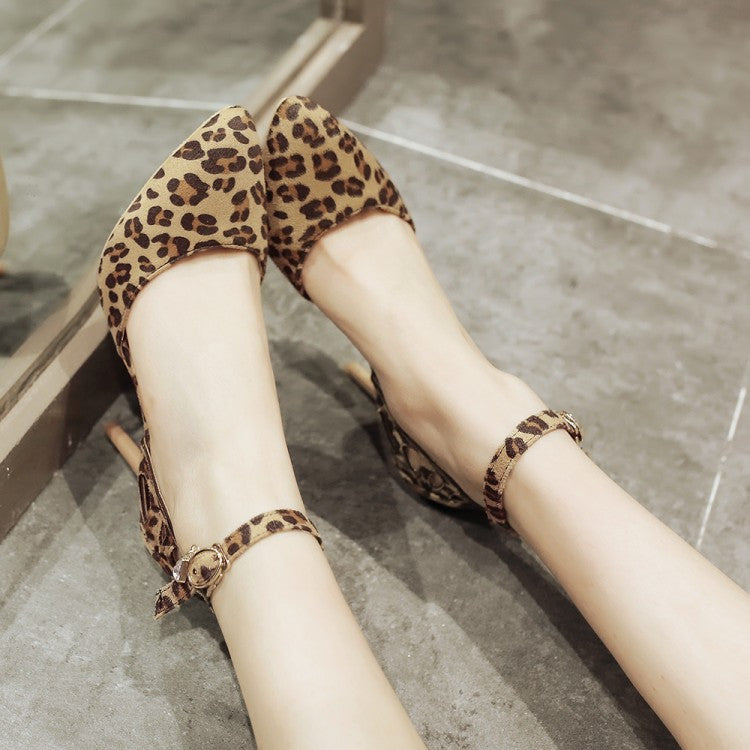fe80e79e1c5 Pointed Toe Ankle Strap Leopard Print High Heel Sandals Stiletto Heel 2356