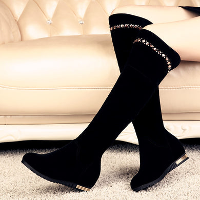 Black Rhinestone Knee High Boots Wedges Shoes Woman