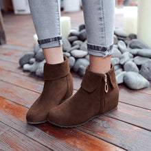 Load image into Gallery viewer, Lapel Flats Ankle Boots Side Zipper Wedge Heels 8905