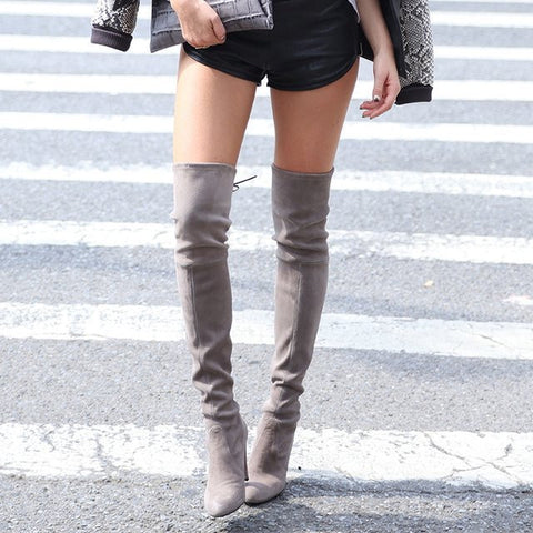 Flock High Heels Thigh High Boots Chunky Heel Pumps 1138