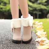 Bowtie Snow Boots Fur Platform Shoes Woman