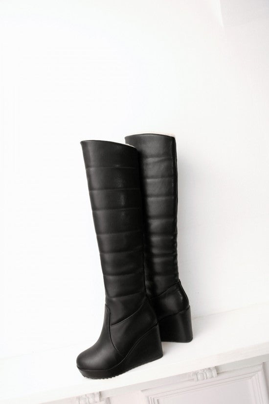 Over the Knee Boots Winter Fur Wedges Platform Women Shoes