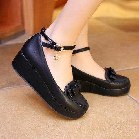 Ankle Straps Bow Women Wedges Platform Shoes 8700