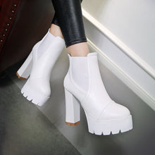 Load image into Gallery viewer, Ankle Boots for Women Platform High Heels Pu Leather Autumn Winter Round Toe Shoes Woman 1982