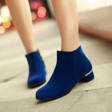 Load image into Gallery viewer, Women Ankle Boots Round Toe Zipper Low Heels Shoes Woman 2016 3515