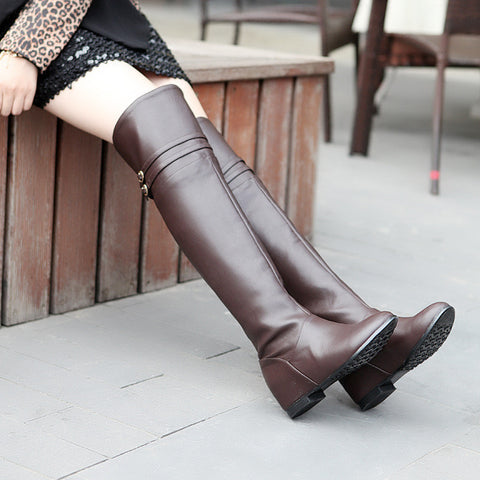 Buckle PU Leather Thigh High Boots Wedges Shoes Woman 3336