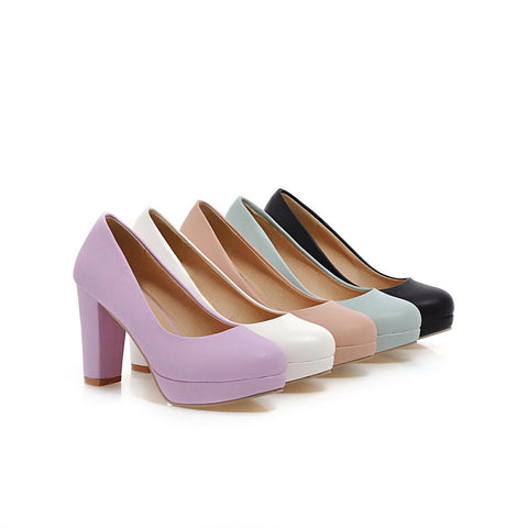 Simple Chunky Heel Pumps Platform High Heels Fashion Women Shoes 8306