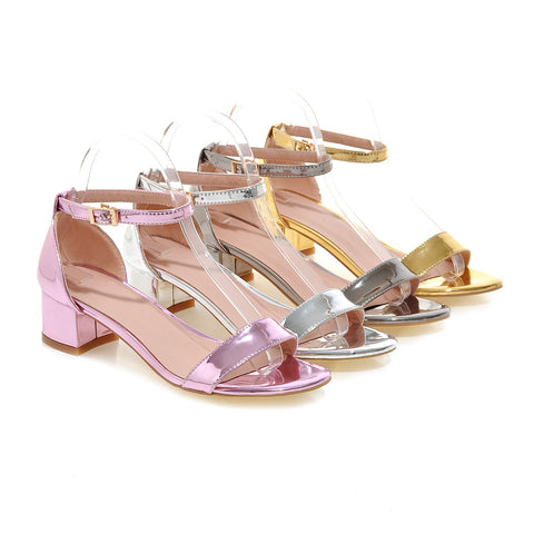 Summer Ankle Straps Sandals Pure Colr Pumps High-heeled Shoes Woman