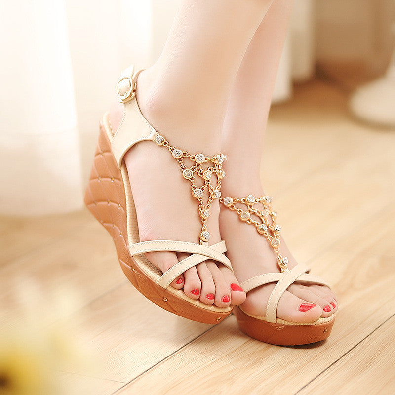 c48a73c3d0d1db Beads Platform Sandals Buckle Women Wedges Shoes Woman – Shoeu