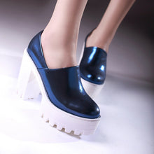 Load image into Gallery viewer, Chunky Heel Pumps Crack High Heels Platform Shoes Woman