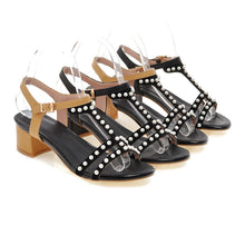 Load image into Gallery viewer, Pearl Sandals Pumps Genuine Leather High-heeled Shoes Woman