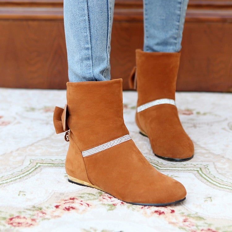 Back Bowtie Women Ankle Boots Shoes Woman 2016 3379