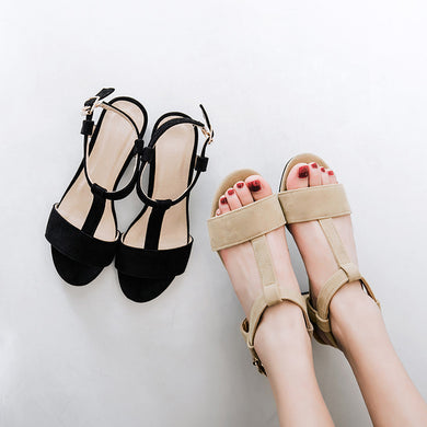 T Straps Faux Suede Chunky Sandals 9328