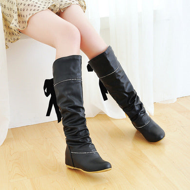 Back Bowtie Women Knee High Boots Wedges Shoes Woman 2016 3367