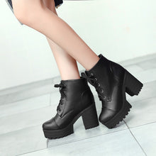 Load image into Gallery viewer, Lace Up Chunky Heel Platform Short Boots 9169