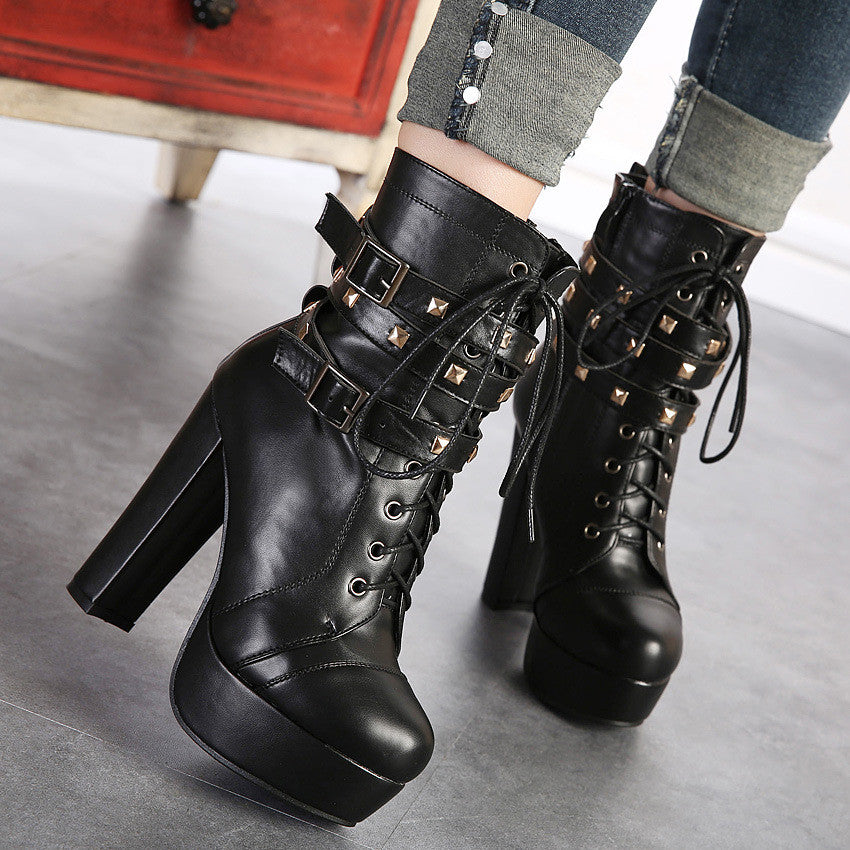 Lace Up Women Motorcycle Boots Platform High Heels Studded