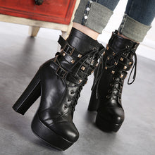 Load image into Gallery viewer, Lace Up Women Motorcycle Boots Platform High Heels Studded Ankle Boots Shoes Woman 3350