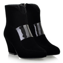 Load image into Gallery viewer, Black Ankle Boots Zipper High Heels Platform Shoes Woman