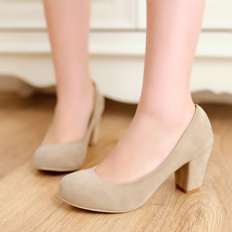 Round Toe Women Chunky Heel Pumps High Heels Dress Shoes Woman