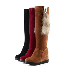 Fashion Women Knee High Boots for Autumn and Winter New Arrive Fur Snow Boots 1255